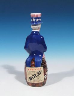 Holland Deco Art Pottery Uncle Sam Bols Liqueur Advertising Bottle