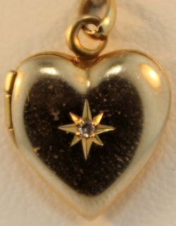 Gold Heart Locket with Diamond and Initials MW Charm Pendant