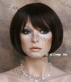100 Human Hair Straight Bob Dark Brown Short Trendy Wig 4