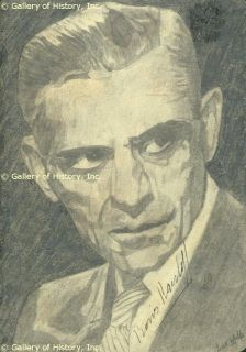 Boris Karloff Sketch Signed Co Signed by Lisa Wolfe