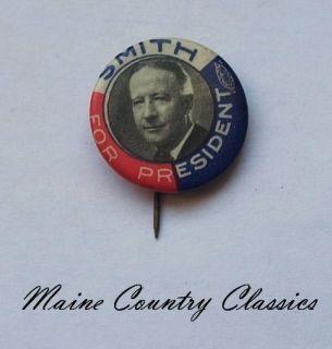 1928 U.S. PRESIDENTIAL CAMPAIGN POLITICAL PINBACK BUTTON Al Smith For