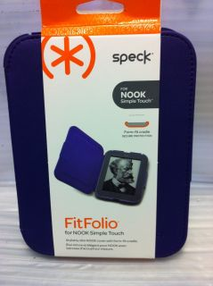 Leather Folio Case for Nook Simple Touch Aubergine Purple