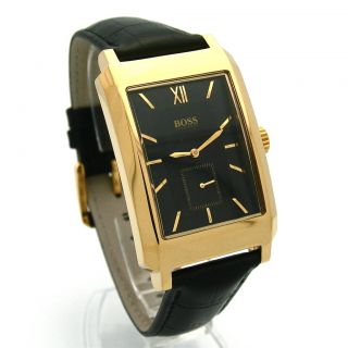 HUGO BOSS HB 179 Classic Mens Gold Black Leather Watch 1512434 NWT