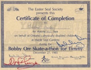 Bobby Orr Don Cherry Boston Bruins Signed Autographed Skate A Thon