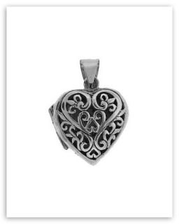sterling silver filigree heart locket the front of the heart