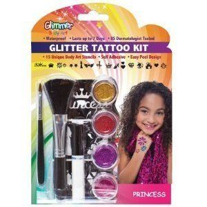 Glimmer Body Art Glitter Tattoo Tattoos Kit Princess 15 Stencils Crown