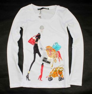 New Ladys Girls Fashion Shopping Lady White T Shirt Size s M L XL