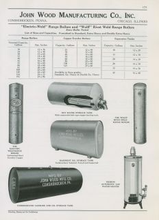 John Wood Co 1940 Ad Range Boilers Automatic Gas Water Heater Storage