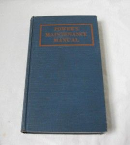 Vtg Powers Maintenance Manual 1934 Industrial Boiler Steam Turbine