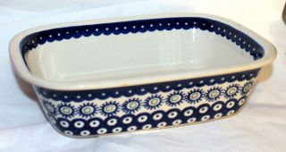 BAKING DISH POLISH POTTERY STONEWARE BOLES LOAF PAN CHRISTMAS PLATE