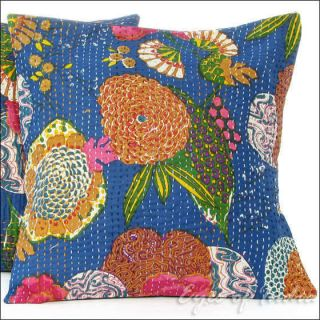 Blue Indian Floral Pillow Cushion Cover Throw Vintage India Decorative
