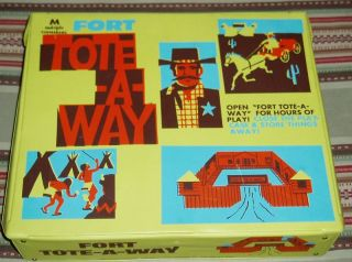 MPC Fort Tote Away with Cowboys Indians Cavalry Horse Awesome Playset