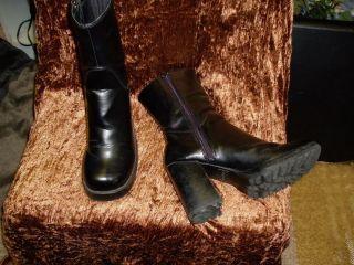 Bongo Ladies Black Chunky High Heels Platform Boots 7 5M