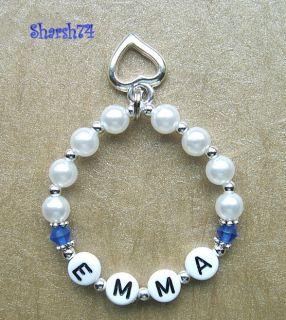 New Girls Pearl Birthstone Name Bracelet Heart Charm