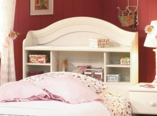 New White Bookcase Headboard for Twin Single Size Bed Frame Wood Kids