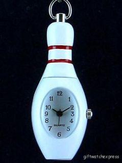 Bowling Pin Pendant Quartz Keychain Key Ring Pocket Watch Enamel