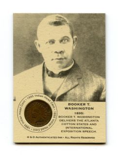Booker T Washington RARE 1895 Indian Head Penny Insert Cent Coin Card