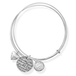 Sterling Silver Triple Bangle Set Heart Charms Inspirational Love Hope