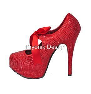 Bordello shoes Teeze 04R red rhinestone heels platform pumps 10