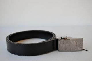 Burberry Mens Boyden Black Nova Check Buckle Leather Belt 36 90 Italy