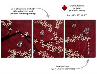 Soniei Cherry Blossom Butterfly Painting Red Dark Brown Beige White