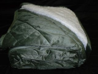 Soft Borrego Blanket Green Sage Queen Fur Double Ply Thick Quilted