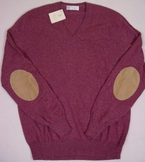 Brunello Cucinelli Sweater Bordeaux 100 Cashmere Leather Elbow V Neck