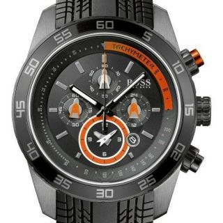 NEW BOSS HUGO BOSS BLACK ORANGE SILICONE STRAP CHRONOGRAPH F1 WATCH