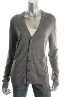 Hugo Boss Gray Wool Long Sleeve Button Front Cardigan Sweater L BHFO