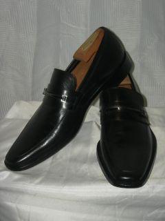 BOSS HUGO BOSS Black Round Toe Steel Hardware Leather Slipons Loafers