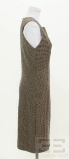 BOTTEGA VENETA Brown Black Herringbone Wool Dress Size 42