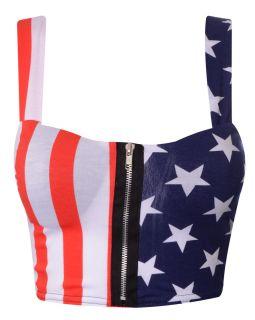 Crop Zip Front Animal American Flag Print Padded Bra Bralet Top