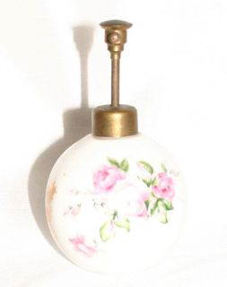 Vintage Perfume Bottle Antique Atomizer Floral Pattern Porcelain Brass