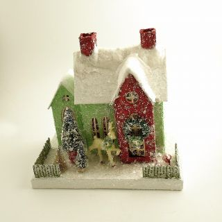 Mica Putz House Bottle Brush Trees Christmas Village