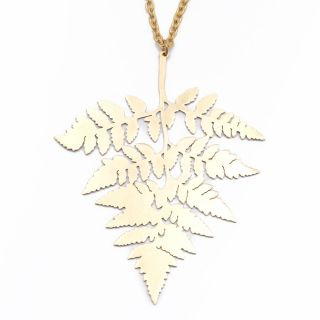 Vintage Brass Gold Branch Leaf Tree Chain Pendant Necklace by