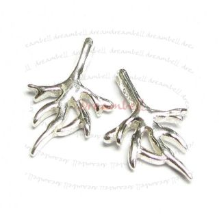 2X Sterling Silver Coral Tree Branch Dangle Charm Pendant