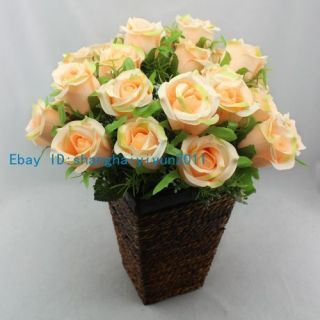 25 PCS Beautiful Artificial Flower Silk Rose Buds Wedding Bouquet