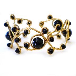 open swirl black onyx brass adjustable bracelet cuff bracelets