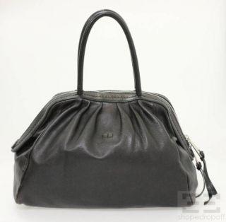 Sonia Rykiel Espresso Brown Pebbled Leather Pleated Bowler Bag