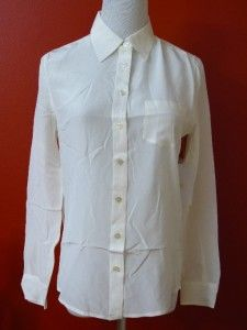 New Equipment Brett Washed Silk Blouse Shirt Natural White XS s M 0 2