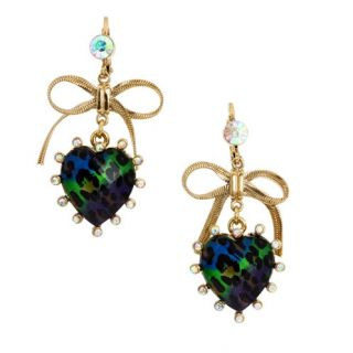 Betsey Johnson Jungle Leopard Heart Bow Drop Earrings