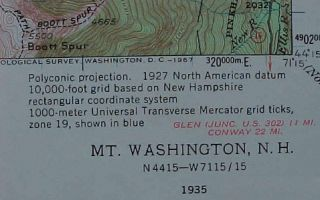 1935 USGS Topo Trail Map Mount Washington Berlin New Hampshire