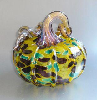 Superb Signed Dated Walker Bowes Hand Blown Studio Art Glass Pumpkin