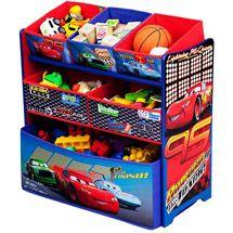 Cars Toybox Storage Toy Organizer 6 Bin Set Kids Boys Bed Room