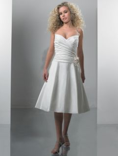 Beach Bridal Satin Cocktail Ball Tea Wedding Dress Gown