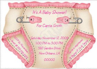 10 personalized baby shower invitations with baby diapers on a solid