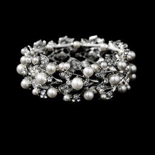 Luxurious Pearl Rhinestone Bridal Necklace Bracelet and Earrings Set