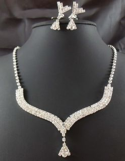 edding Bridal Clear crystal necklace earring Sliver Jewelry set TL0362