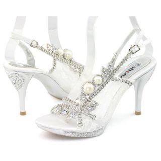 Diamantes Platform Sandal Slingback Heels Bridal Party Shoes