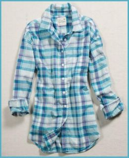 American Eagle Womens AE Boyfriend Blue Plaid Shirt New Free Fast